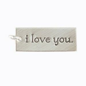 NWOT 1'' Sterling Silver I Love You Bar Charm